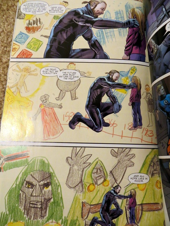 Fantastic Four page with children style art in the backround