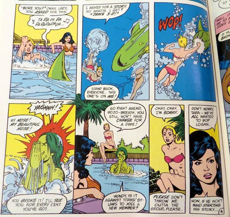 Terra punches Beast Boy in the pool